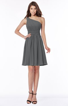 ColsBM Julia Grey Classic One Shoulder Sleeveless Chiffon Knee Length Ruching Bridesmaid Dresses