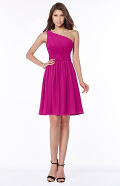 ColsBM Julia Hot Pink Classic One Shoulder Sleeveless Chiffon Knee Length Ruching Bridesmaid Dresses