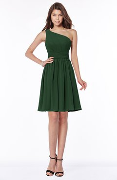 ColsBM Julia Hunter Green Classic One Shoulder Sleeveless Chiffon Knee Length Ruching Bridesmaid Dresses