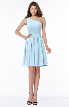 ColsBM Julia Ice Blue Classic One Shoulder Sleeveless Chiffon Knee Length Ruching Bridesmaid Dresses