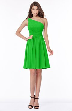 ColsBM Julia Jasmine Green Classic One Shoulder Sleeveless Chiffon Knee Length Ruching Bridesmaid Dresses