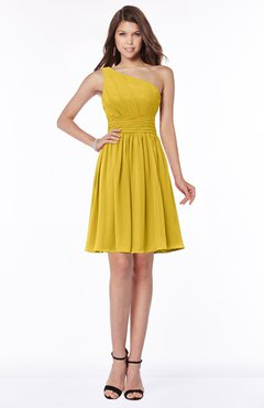 ColsBM Julia Lemon Curry Classic One Shoulder Sleeveless Chiffon Knee Length Ruching Bridesmaid Dresses