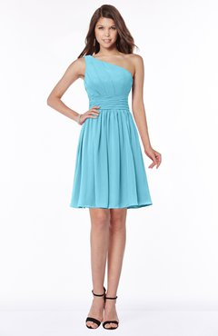 ColsBM Julia Light Blue Classic One Shoulder Sleeveless Chiffon Knee Length Ruching Bridesmaid Dresses