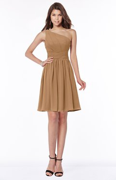 ColsBM Julia Light Brown Classic One Shoulder Sleeveless Chiffon Knee Length Ruching Bridesmaid Dresses