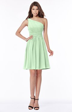 ColsBM Julia Light Green Classic One Shoulder Sleeveless Chiffon Knee Length Ruching Bridesmaid Dresses