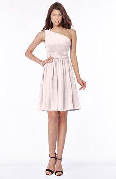 ColsBM Julia Light Pink Classic One Shoulder Sleeveless Chiffon Knee Length Ruching Bridesmaid Dresses