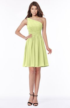 ColsBM Julia Lime Green Classic One Shoulder Sleeveless Chiffon Knee Length Ruching Bridesmaid Dresses