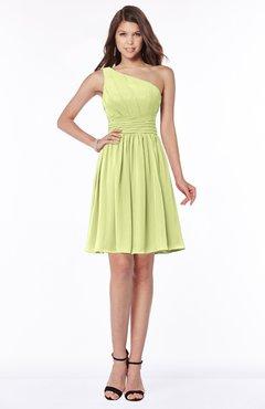 ColsBM Julia Lime Sherbet Classic One Shoulder Sleeveless Chiffon Knee Length Ruching Bridesmaid Dresses