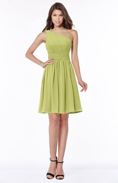 ColsBM Julia Linden Green Classic One Shoulder Sleeveless Chiffon Knee Length Ruching Bridesmaid Dresses