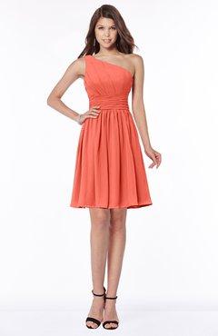 ColsBM Julia Living Coral Classic One Shoulder Sleeveless Chiffon Knee Length Ruching Bridesmaid Dresses