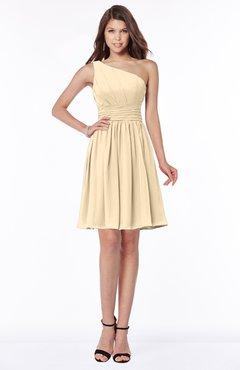 ColsBM Julia Marzipan Classic One Shoulder Sleeveless Chiffon Knee Length Ruching Bridesmaid Dresses
