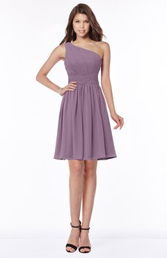 ColsBM Julia Mauve Classic One Shoulder Sleeveless Chiffon Knee Length Ruching Bridesmaid Dresses