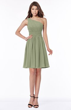 ColsBM Julia Moss Green Classic One Shoulder Sleeveless Chiffon Knee Length Ruching Bridesmaid Dresses