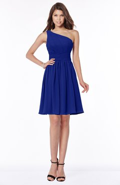 ColsBM Julia Nautical Blue Classic One Shoulder Sleeveless Chiffon Knee Length Ruching Bridesmaid Dresses