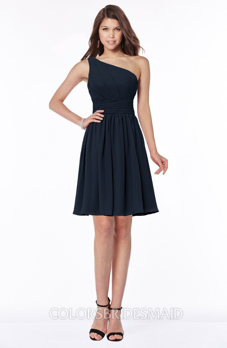 4431a51b74a ColsBM Julia Navy Blue Classic One Shoulder Sleeveless Chiffon Knee Length  Ruching Bridesmaid Dresses