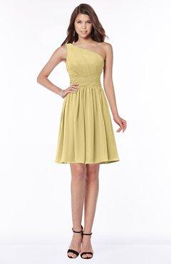 ColsBM Julia New Wheat Classic One Shoulder Sleeveless Chiffon Knee Length Ruching Bridesmaid Dresses