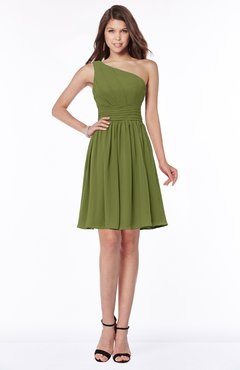 ColsBM Julia Olive Green Classic One Shoulder Sleeveless Chiffon Knee Length Ruching Bridesmaid Dresses