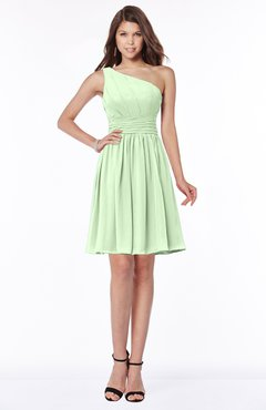 ColsBM Julia Pale Green Classic One Shoulder Sleeveless Chiffon Knee Length Ruching Bridesmaid Dresses