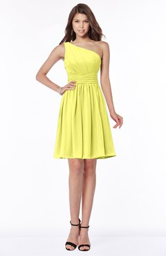 ColsBM Julia Pale Yellow Classic One Shoulder Sleeveless Chiffon Knee Length Ruching Bridesmaid Dresses