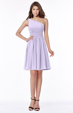 ColsBM Julia Pastel Lilac Classic One Shoulder Sleeveless Chiffon Knee Length Ruching Bridesmaid Dresses