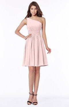 ColsBM Julia Pastel Pink Classic One Shoulder Sleeveless Chiffon Knee Length Ruching Bridesmaid Dresses
