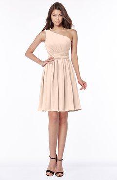 ColsBM Julia Peach Puree Classic One Shoulder Sleeveless Chiffon Knee Length Ruching Bridesmaid Dresses