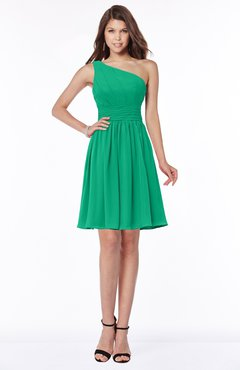 ColsBM Julia Pepper Green Classic One Shoulder Sleeveless Chiffon Knee Length Ruching Bridesmaid Dresses