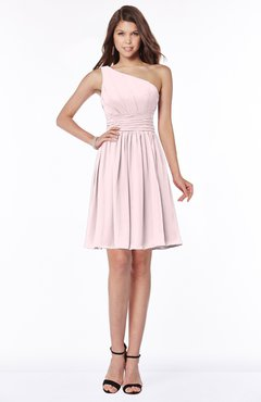 ColsBM Julia Petal Pink Classic One Shoulder Sleeveless Chiffon Knee Length Ruching Bridesmaid Dresses