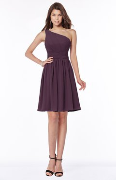 ColsBM Julia Plum Classic One Shoulder Sleeveless Chiffon Knee Length Ruching Bridesmaid Dresses