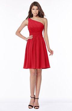 ColsBM Julia Red Classic One Shoulder Sleeveless Chiffon Knee Length Ruching Bridesmaid Dresses