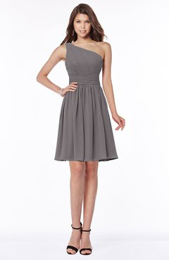 ColsBM Julia Ridge Grey Classic One Shoulder Sleeveless Chiffon Knee Length Ruching Bridesmaid Dresses
