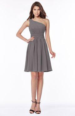 ColsBM Julia Ridge Grey Classic One Shoulder Sleeveless Chiffon Knee Length Ruching Bridesmaid Dresses