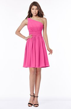 ColsBM Julia Rose Pink Classic One Shoulder Sleeveless Chiffon Knee Length Ruching Bridesmaid Dresses