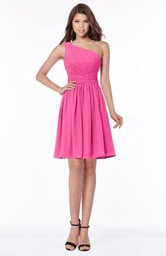 ColsBM Julia Rose Pink Classic One Shoulder Sleeveless Chiffon Knee Length Ruching Bridesmaid Dresses