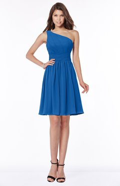 ColsBM Julia Royal Blue Classic One Shoulder Sleeveless Chiffon Knee Length Ruching Bridesmaid Dresses