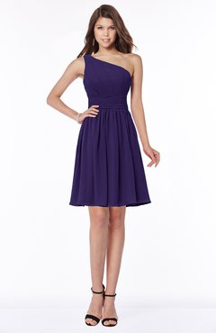 ColsBM Julia Royal Purple Classic One Shoulder Sleeveless Chiffon Knee Length Ruching Bridesmaid Dresses
