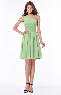 ColsBM Julia Sage Green Classic One Shoulder Sleeveless Chiffon Knee Length Ruching Bridesmaid Dresses