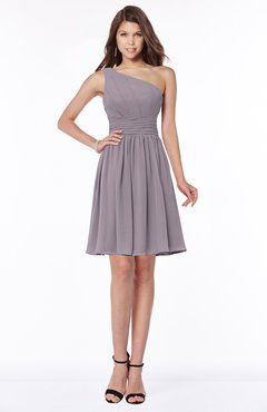 ColsBM Julia Sea Fog Classic One Shoulder Sleeveless Chiffon Knee Length Ruching Bridesmaid Dresses