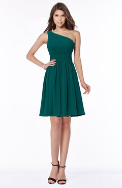 ColsBM Julia Shaded Spruce Classic One Shoulder Sleeveless Chiffon Knee Length Ruching Bridesmaid Dresses