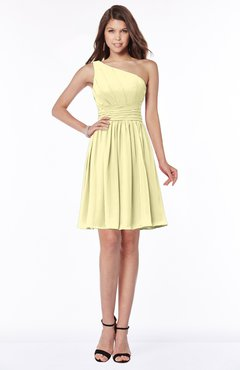 ColsBM Julia Soft Yellow Classic One Shoulder Sleeveless Chiffon Knee Length Ruching Bridesmaid Dresses