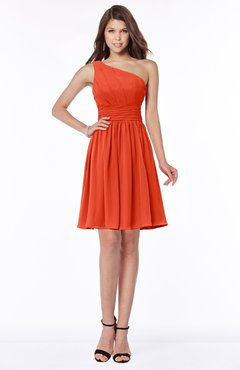 ColsBM Julia Tangerine Tango Classic One Shoulder Sleeveless Chiffon Knee Length Ruching Bridesmaid Dresses