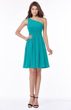 ColsBM Julia Teal Classic One Shoulder Sleeveless Chiffon Knee Length Ruching Bridesmaid Dresses
