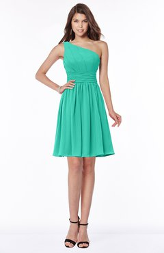 ColsBM Julia Viridian Green Classic One Shoulder Sleeveless Chiffon Knee Length Ruching Bridesmaid Dresses