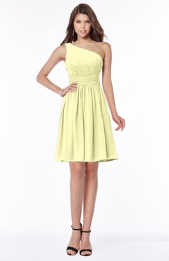 ColsBM Julia Wax Yellow Classic One Shoulder Sleeveless Chiffon Knee Length Ruching Bridesmaid Dresses