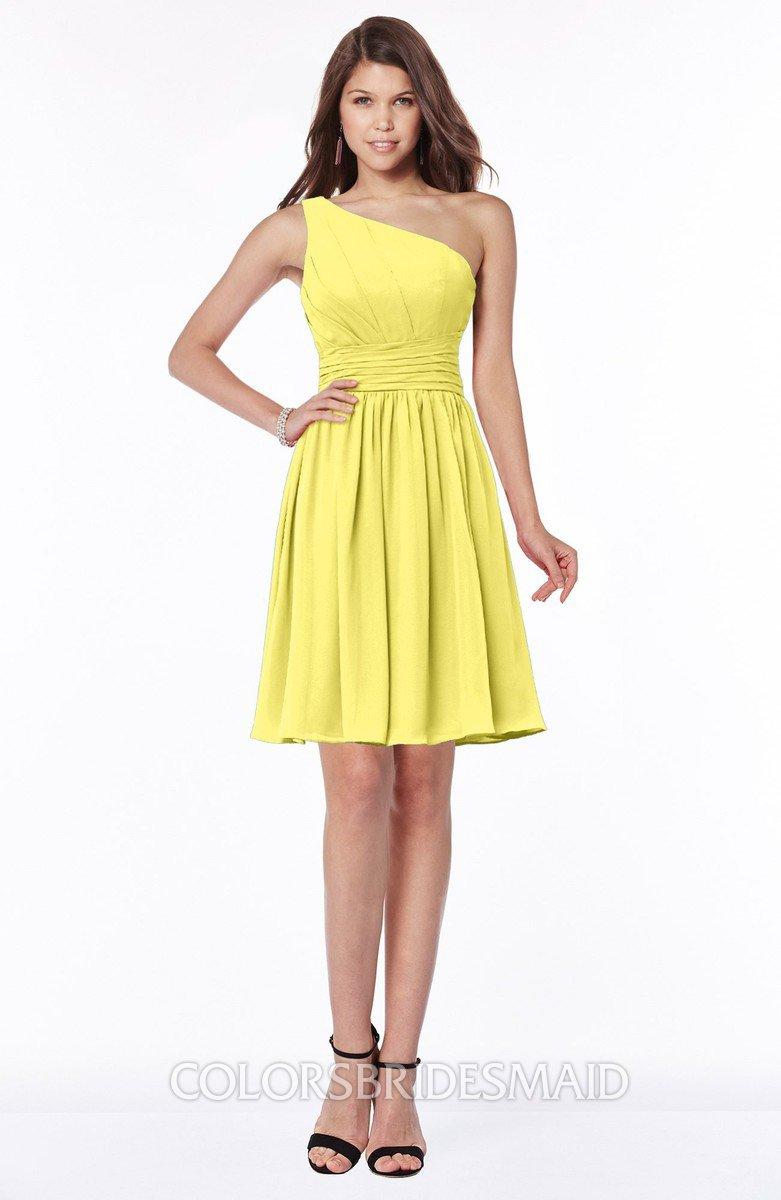 Colsbm Julia Yellow Iris Clic One Shoulder Sleeveless Chiffon Knee Length Ruching Bridesmaid Dresses
