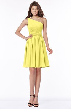 ColsBM Julia Yellow Iris Classic One Shoulder Sleeveless Chiffon Knee Length Ruching Bridesmaid Dresses
