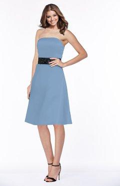 32c5c79df3b ColsBM Kaliyah Faded Denim Glamorous A-line Sleeveless Satin Knee Length  Bow Bridesmaid Dresses