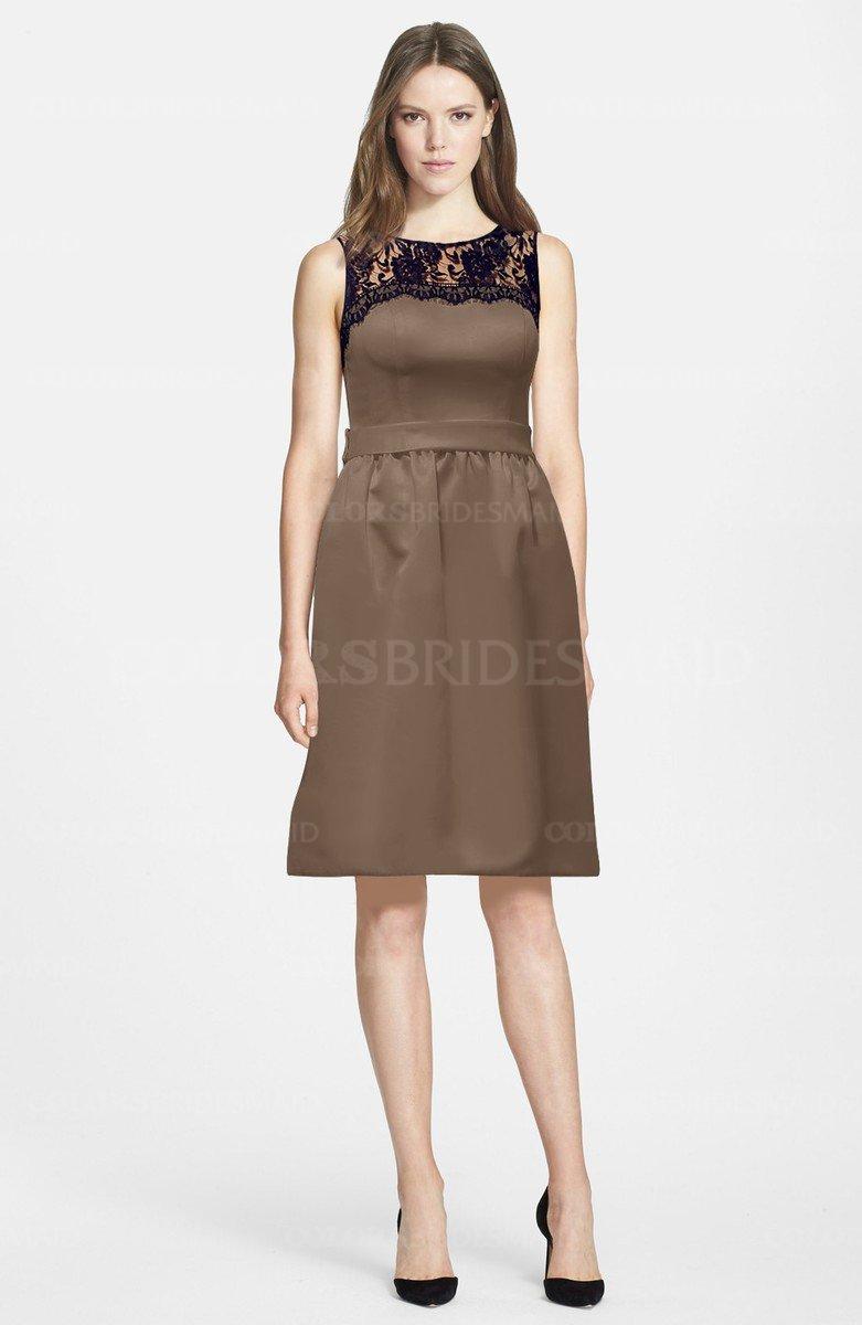 Bronze brown gorgeous scoop zip up satin knee length lace gorgeous scoop zip up satin knee length lace bridesmaid dresses ombrellifo Gallery