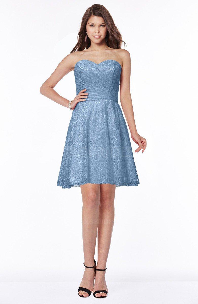 9406929ba0e ColsBM Henley Faded Denim Mature Sweetheart Satin Knee Length Lace Bridesmaid  Dresses
