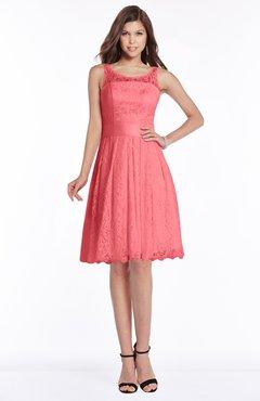 a04a79ec8d43 ColsBM Marilyn Hot Coral Elegant A-line Scoop Sleeveless Lace Bridesmaid  Dresses